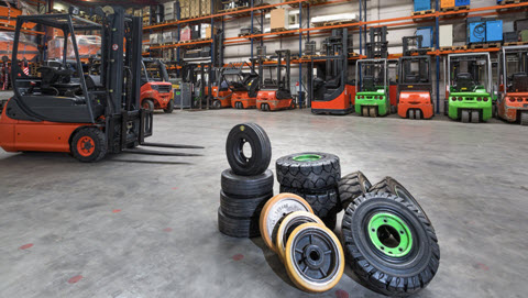 Forklift tyres in warehouse