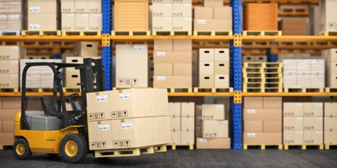 forklift truck in storage warehouse forklift